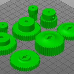 Mod 1 gear set.PNG Download STL file Mod 1 1/10 gear set, pinion and spur • 3D printable model, row3uk