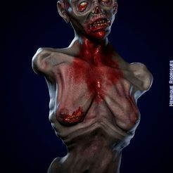 Download 3D printing models Zombie Bust - high detail , josehenrique1500