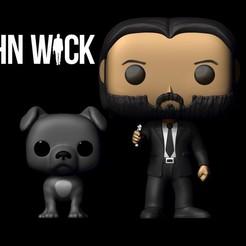 Funko 1.jpg Download STL file John Wick Funko w/ Dog • 3D printable design, josehenrique1500
