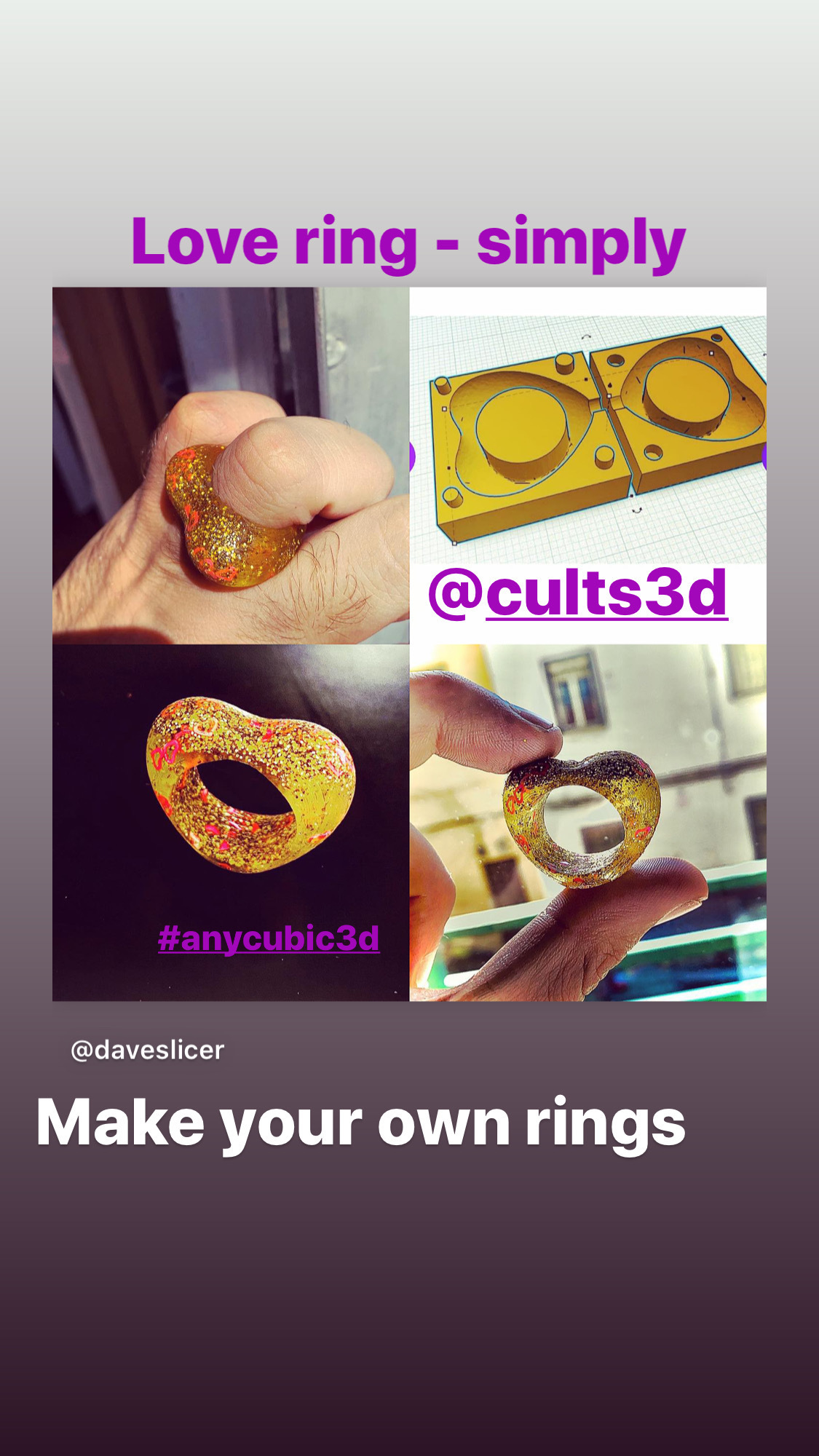 A30FBE29-E7F9-4B59-AA44-C0585D0D45BE.jpeg Download STL file LOVE RING and Mold Simply heart ring and mold . contest - #ANYCUBIC3D • 3D printer model, gaaraa