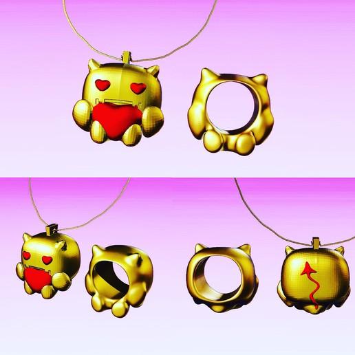 Download free 3D printer templates devil baby FUNKO necklace and ring . funkos colgante bebe demonio y anillo a juego. #ANYCUBIC3D, gaaraa