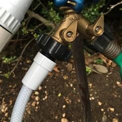 IMG_9054.JPG Télécharger fichier STL gratuit Adaptateur de tuyau de douche à robinet de jardin • Design pour impression 3D, rssalerno