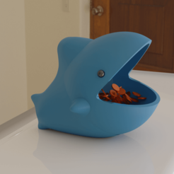 tiburon.png Download STL file Coin holder kit with crocodile and cute shark design • 3D printable object, cheandrou