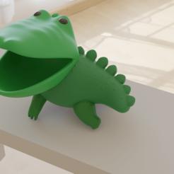 cocodrilo1.png Download STL file Crocodile cute holder • 3D printer template, cheandrou