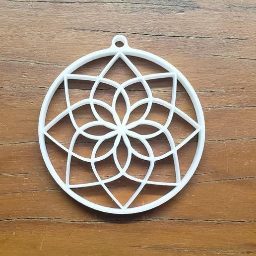 Télécharger plan imprimante 3D gatuit Pendentif en fleur de lotus mandala, fribeiro77