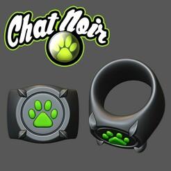 cat_noir.jpg Download STL file Cht Noir ring Miraculous Ladybug • 3D printing design, twitte_king