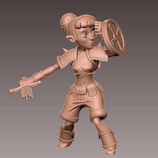 adv_shield4.jpg Download free OBJ file [FREE] Girl Adventurer • 3D printing template, warpentak