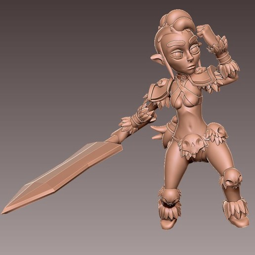 barb_charge1.jpg Download free OBJ file [Free] Girl Barbarian • 3D print template, warpentak