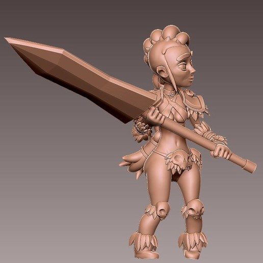 barb_battlr2.jpg Download free OBJ file [Free] Girl Barbarian • 3D print template, warpentak