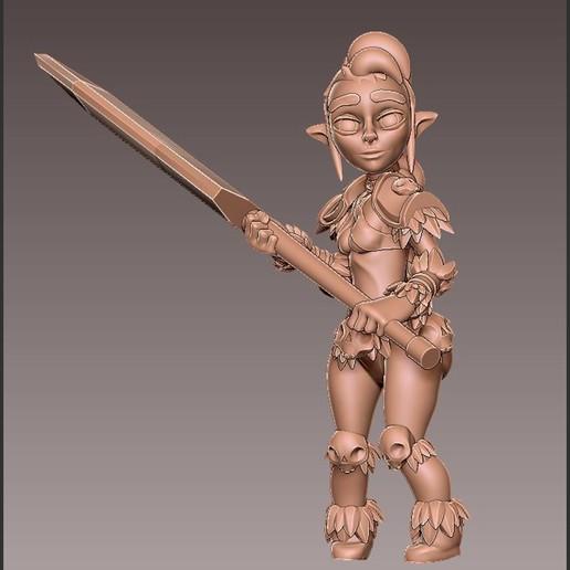 barb_battle2.jpg Download free OBJ file [Free] Girl Barbarian • 3D print template, warpentak