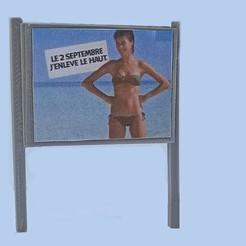 Panneau pub HO poteaux carrés avec affiche ecl.jpg Download free STL file Advertising panel HO square posts V2 • 3D printable template, bunny942