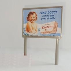 Panneau publicitaire 4x3. avec affiche.jpg Download free STL file Advertising panel HO 4 x 3 m round posts • 3D print model, bunny942