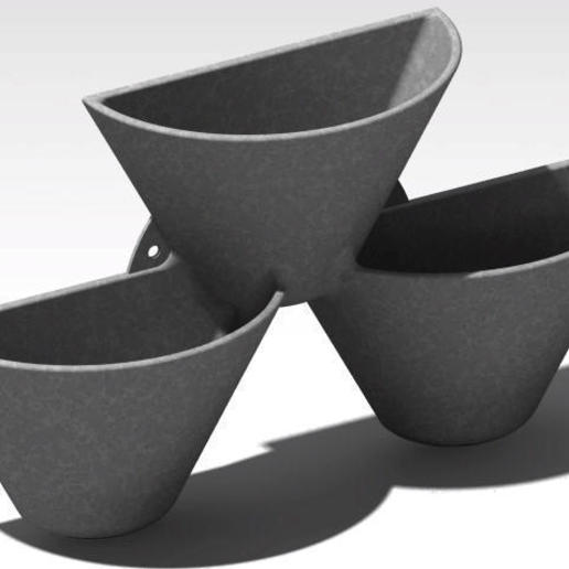 wall flower pot 4.jpg Download free STL file wall pot with 3 compartments • 3D printable model, Cihan_Serbest