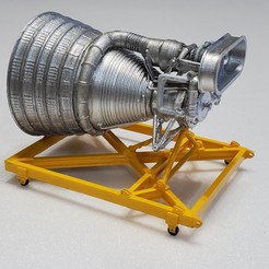 Download free 3D printer designs Apollo F1 Rocket Engine on Stand, monsenrm