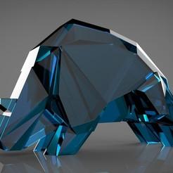 RHINO EN RESINE AGU BLEUE.jpg Download STL file Rhinocéros Low Poly • 3D print design, agumacrophoto