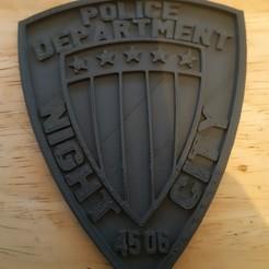 Descargar diseños 3D gratis placa de la policía de la ciudad nocturna del Cyberpunk 2077, BritsFabrication