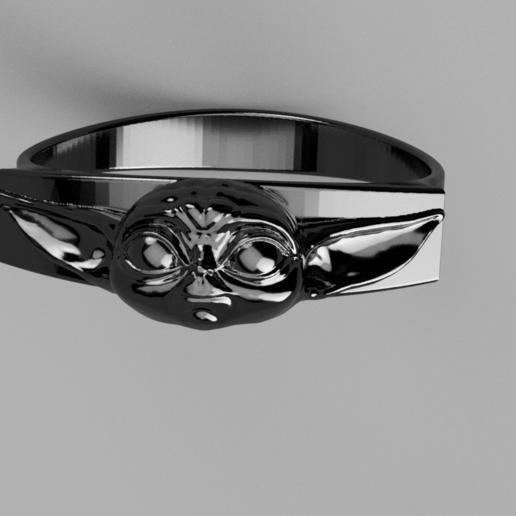 Baby_Yoda_Ring_17mm_Cut(FINAL)5.png Télécharger fichier STL gratuit Bébé Yoda Ring • Plan pour imprimante 3D, quaddalone