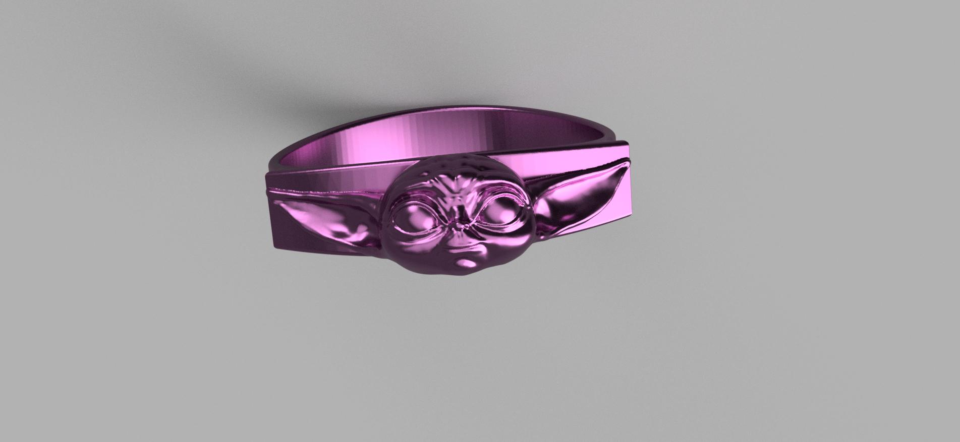 Baby_Yoda_Ring_17mm_Cut(FINAL)6.png Télécharger fichier STL gratuit Bébé Yoda Ring • Plan pour imprimante 3D, quaddalone