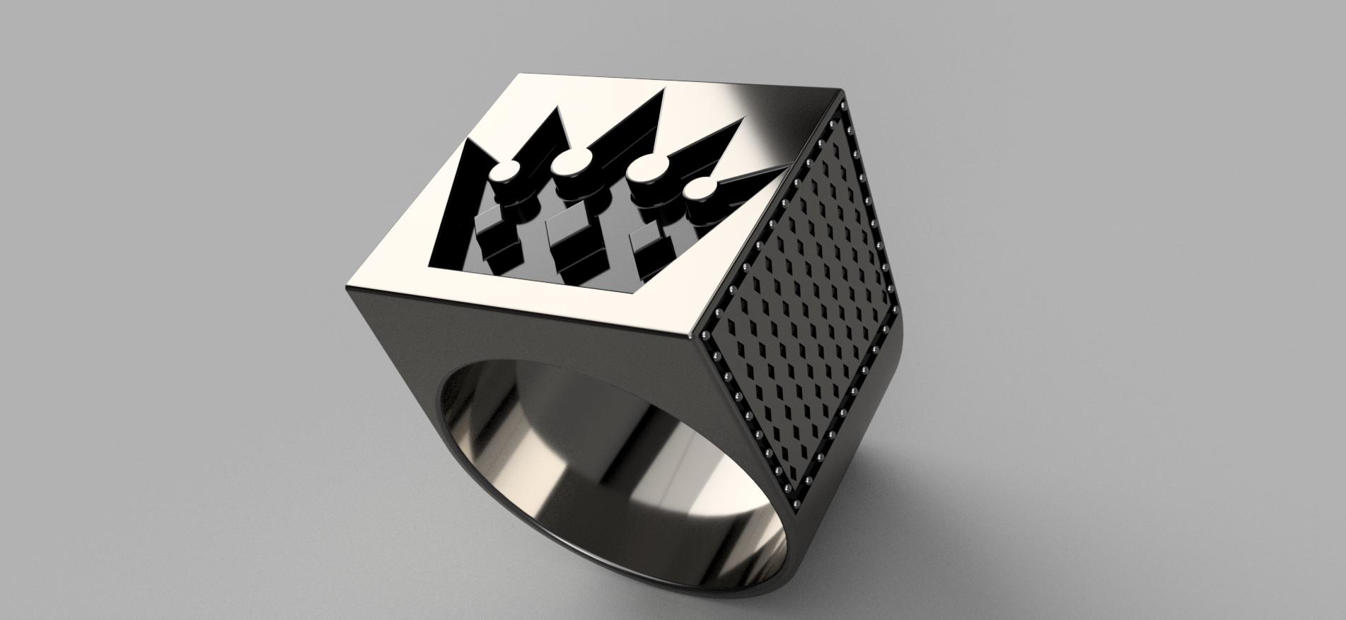 Мужское кольцо с короной v1.png Télécharger fichier OBJ gratuit Bague de la couronne Brutal • Objet pour imprimante 3D, quaddalone