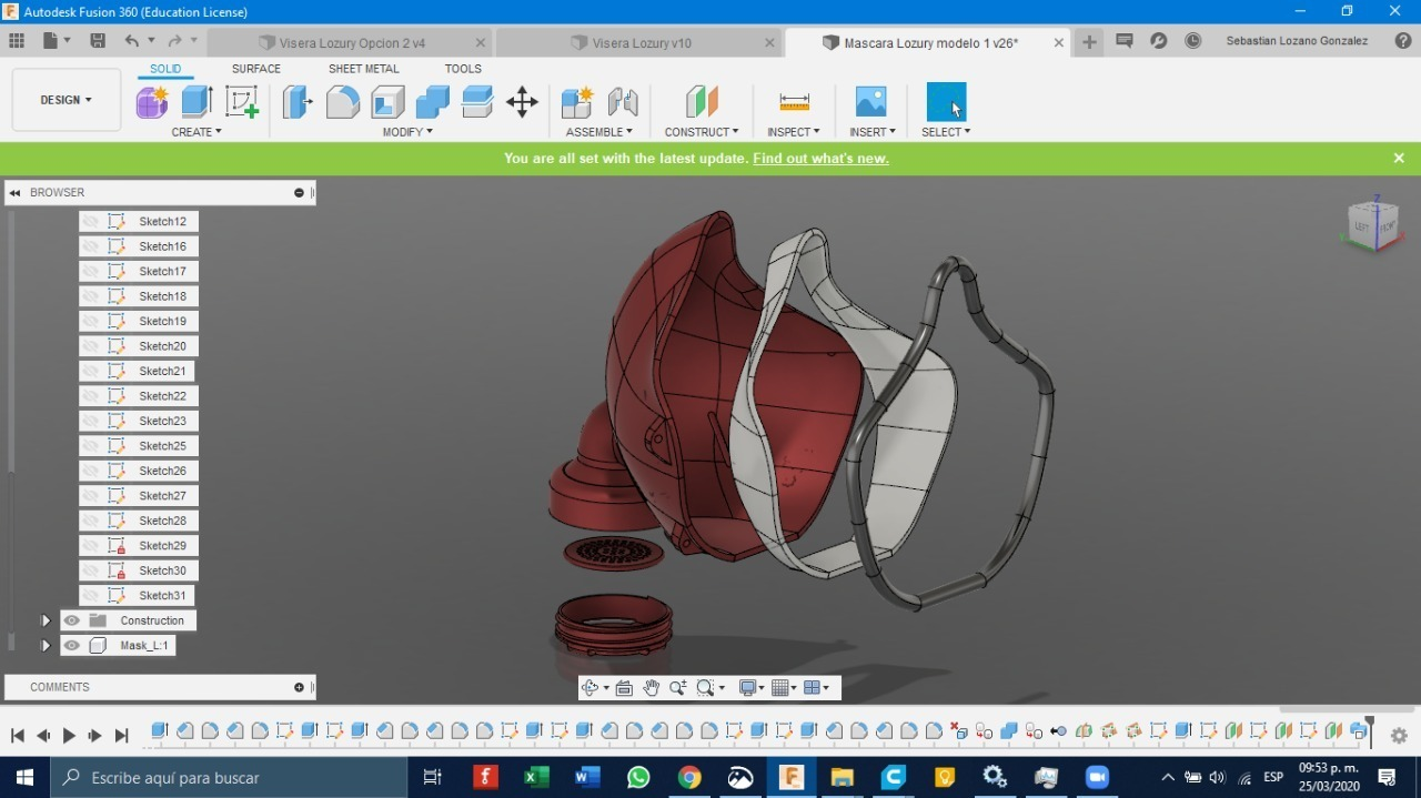Diseño.jpg Download free STL file N95 filter mask (under development and testing) • 3D printing object, LozuryTech