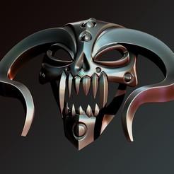 Download 3D printing models mask horned, Haridon
