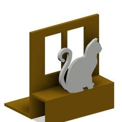 Porta libros gatito sentado.JPG Download STL file Bookend / Holder Sitting Kitty • 3D printable object, Dragonuno