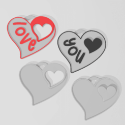 1prom.png Download STL file Valentine's Day Couple Keyrings (Love & You) and (White for personalization) • 3D printable object, Phlegyas