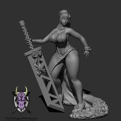 Download 3D printer files WARRIOR BRIDE MINIATURE (DND, WARHAMMER, KINGDOM DEATH, PATHFINDER, MINI), darkdragonminiatures