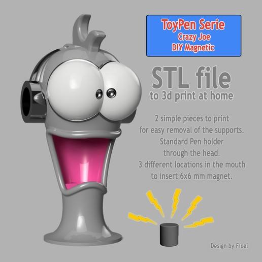 CJ_Miniature.jpg Télécharger fichier STL CrazyJoe, gadget magnétique, porte stylo, porte outils,  • Plan pour imprimante 3D, Ficel
