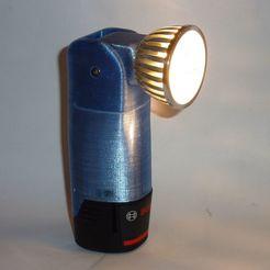Download free 3D printer designs Bosch 12V flashlight with adjustable head, ksuszka