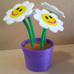 Download free STL files Smiley flowers in pot, cmtm