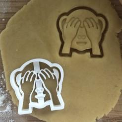 Monkey eyes cover.jpg Télécharger fichier STL Singe effronté couvrant les yeux Emoji Cookie Cutter 55x54mm • Modèle pour imprimante 3D, AW95
