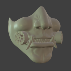 Oni01Final.PNG Download STL file Oni Covid-Mask • 3D printable design, Only3DThatyouNeed