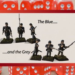 The Blue and the Grey.png Download STL file 28mm Basic American Civil War Infantry 3D print model • 3D printer template, RedDawnMiniatures