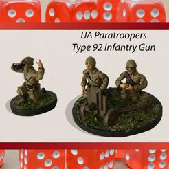 IJA Paratrooper Type 92 Infantry Gun.png Download STL file 28mm Japanese Type 92 Infantry Gun with IJA Paratrooper Artillery Crew WW2 • Design to 3D print, RedDawnMiniatures