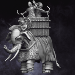 Auxilary Elephant.png Download STL file 28mm Roman Auxiliary War Elephant • 3D printable design, RedDawnMiniatures