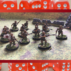 IJA Paratroopers Infantry.png Download STL file 28mm IJA Imperial Japanese Army Paratropers Squad WW2 Multi Pose • Template to 3D print, RedDawnMiniatures
