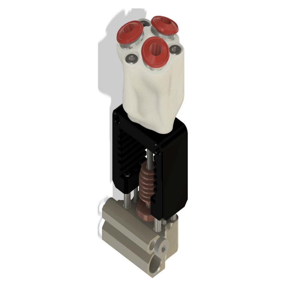 Adapter2.jpg Télécharger fichier STL gratuit Mosquito Hotend - Adaptateur multi-matériaux / 3in-1out • Plan pour imprimante 3D, Exerqtor