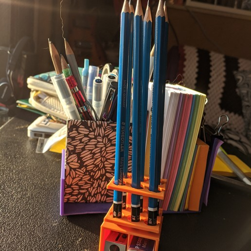 Download free 3D print files Pencil Holder With Storage, jhaig101
