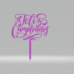 topper.png Télécharger fichier STL Feliz cumpleaños pour le gâteau d'accompagnement • Design imprimable en 3D, tridys3d