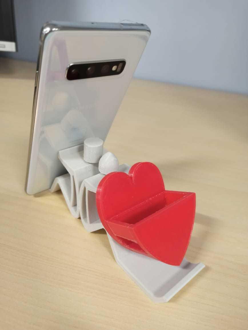MobileStand_HeartBox.jpeg Download free STL file Mobile Phone Stand & Airpods Heart Box • 3D printer model, mennaelfrash55