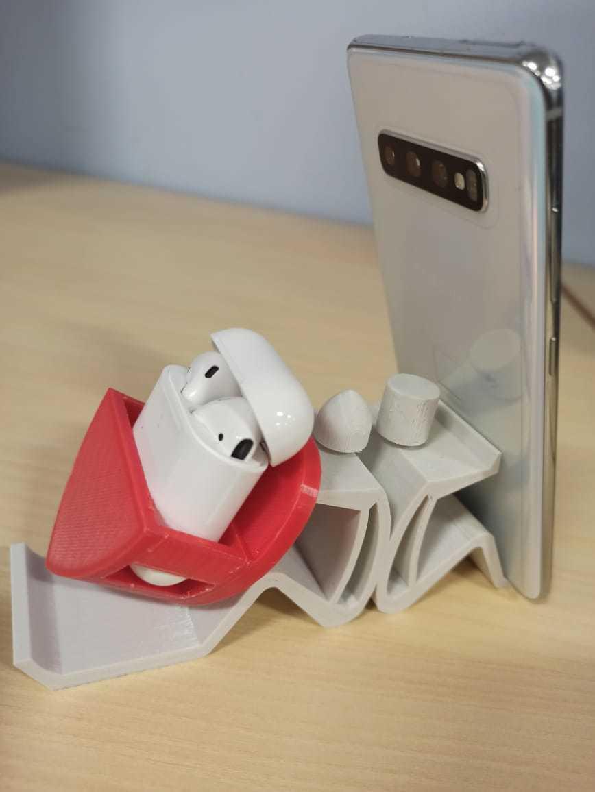 MobileStand_AirpodsHeartCase.jpeg Download free STL file Mobile Phone Stand & Airpods Heart Box • 3D printer model, mennaelfrash55