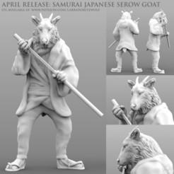 Samurai Japanese Serow Goat Patreon Release 2.jpg Download STL file Samurai Japanese Serow Goat • 3D printable design, LabradoriteWolf