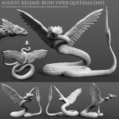 Bush Viper Quetzalcoatl Patreon Release merged.jpg Télécharger fichier STL Quetzalcoatl, la vipère des buissons • Design pour imprimante 3D, LabradoriteWolf