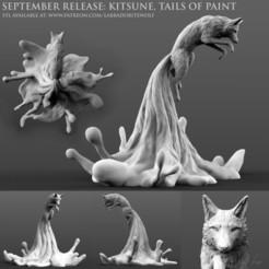 Kitsune Patreon Release merged 2.jpg Télécharger fichier STL Kitsune, les queues de la peinture • Objet pour imprimante 3D, LabradoriteWolf