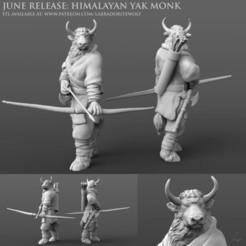 Himalayan Yak Monk Patreon Release merged.jpg Télécharger fichier STL Moine yak de l'Himalaya • Objet à imprimer en 3D, LabradoriteWolf