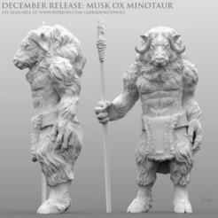 Download 3D model Musk Ox Minotaur, LabradoriteWolf