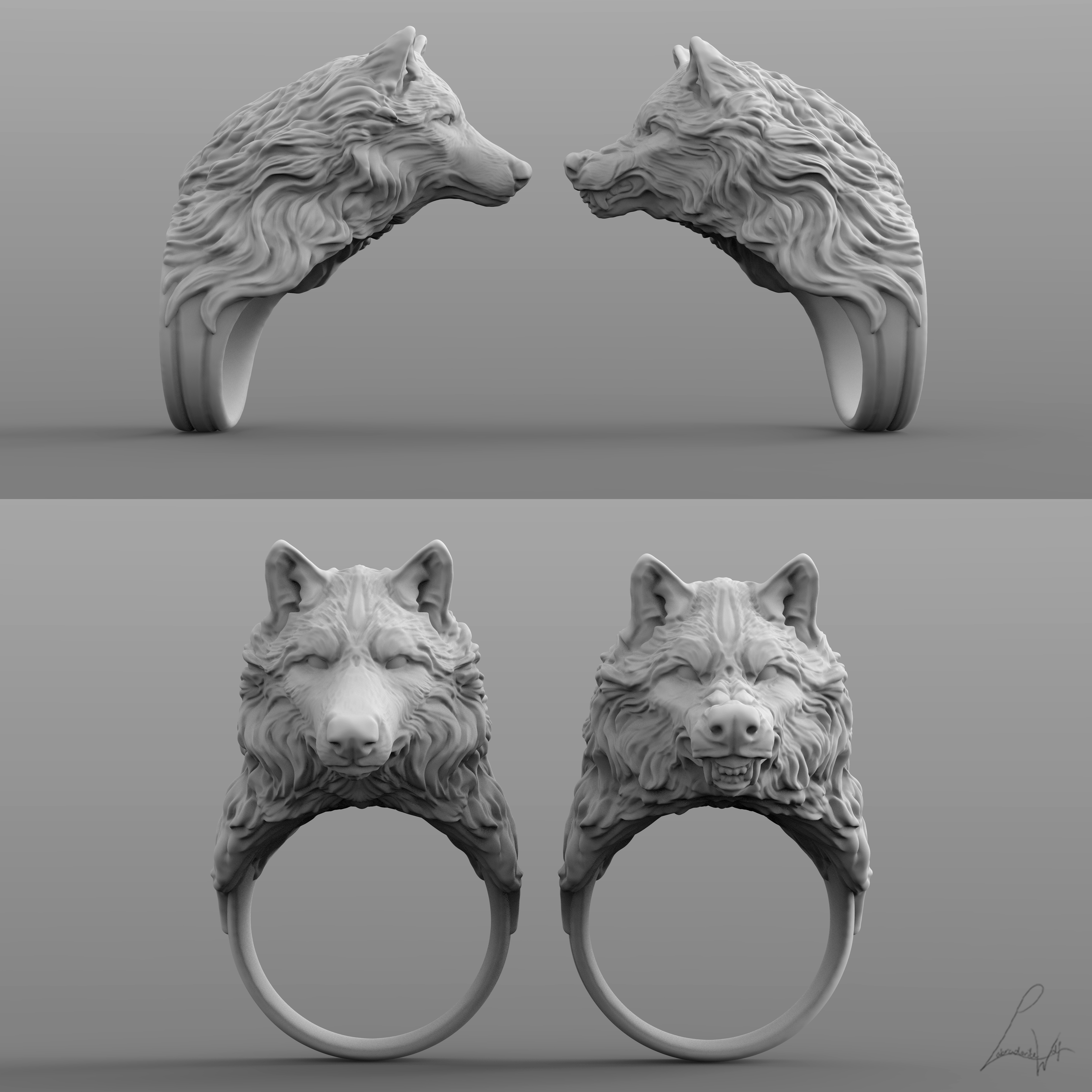 Cults 6.jpg Download free STL file Two Wolves - Set of Rings • 3D printing design, LabradoriteWolf
