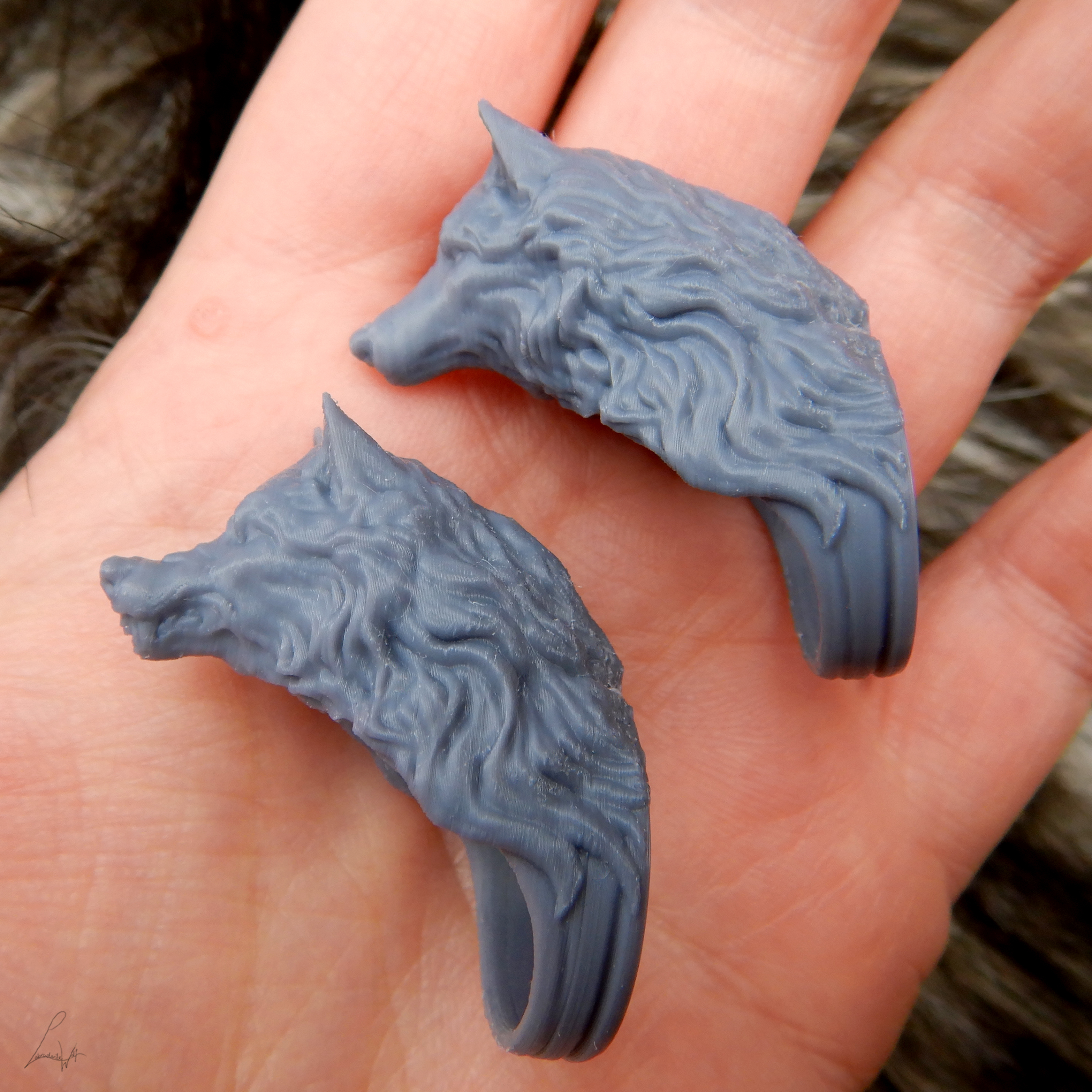 Cults 2.jpg Download free STL file Two Wolves - Set of Rings • 3D printing design, LabradoriteWolf