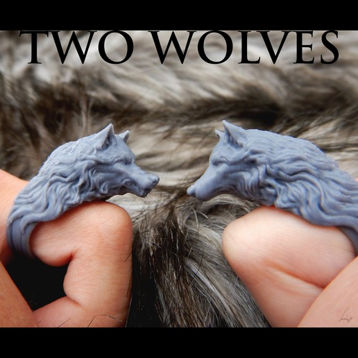 Download free STL files Two Wolves - Set of Rings, LabradoriteWolf